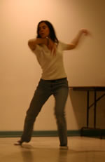 Woman using movement in Barclay McMillan Ottawa voice workshop